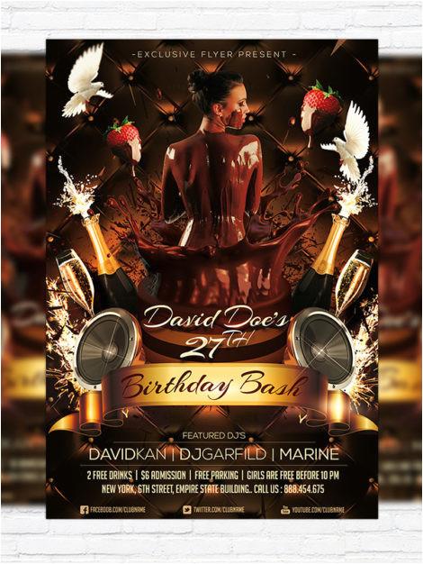 birthday bash premium flyer template facebook cover