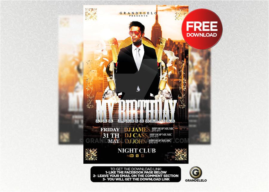free birthday bash flyer template psd 466270761