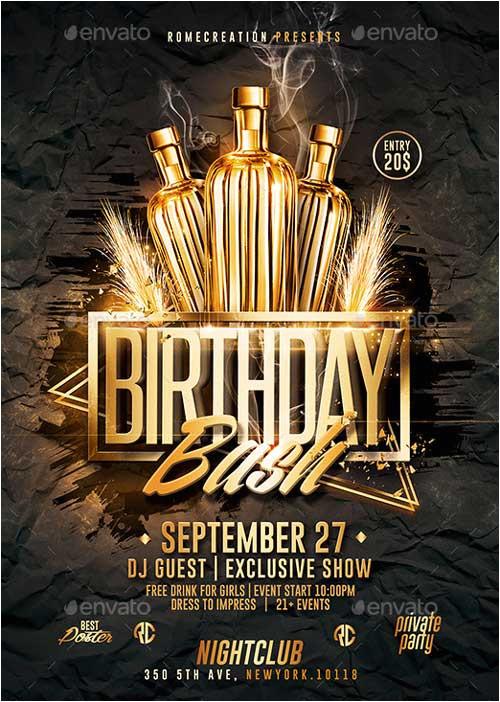 gold birthday bash psd flyer template