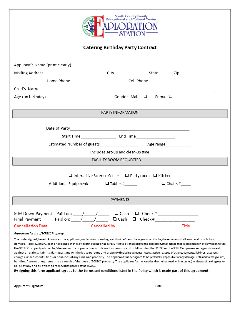 catering contract for birthday party