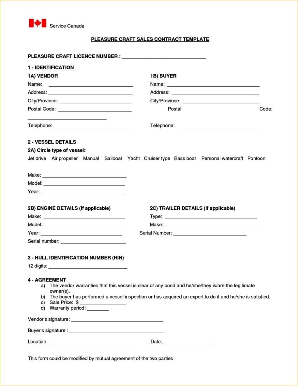 boat sale contract template