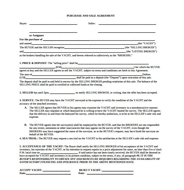 boat purchase agreement