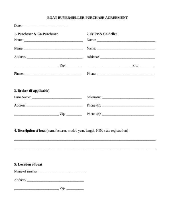 Boat Sale Contract Template Sample Sales Agreement form 10 Free Documents In Pdf Doc