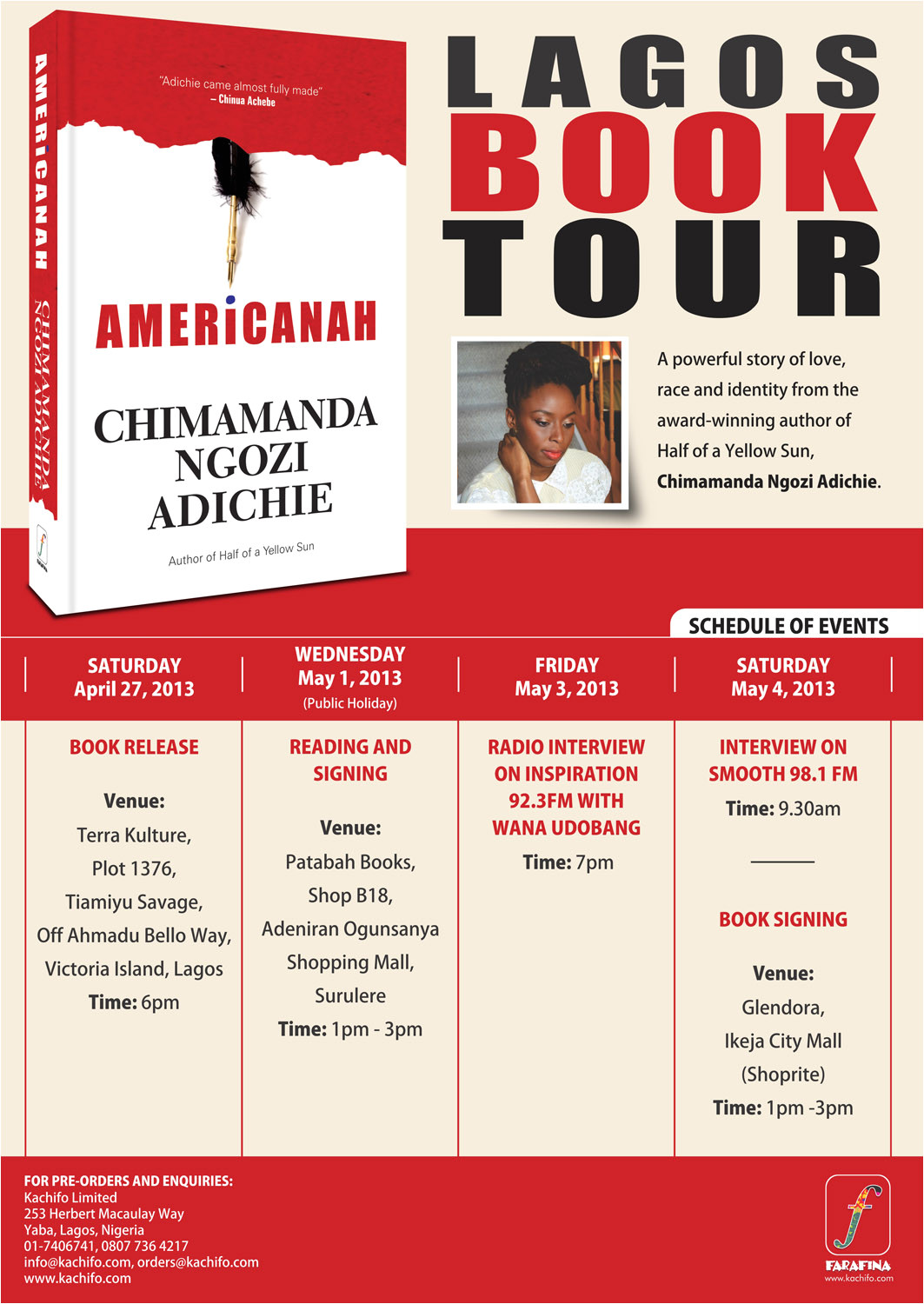 chimamanda adichie book launch