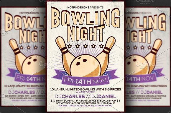 91031 bowling night flyer template