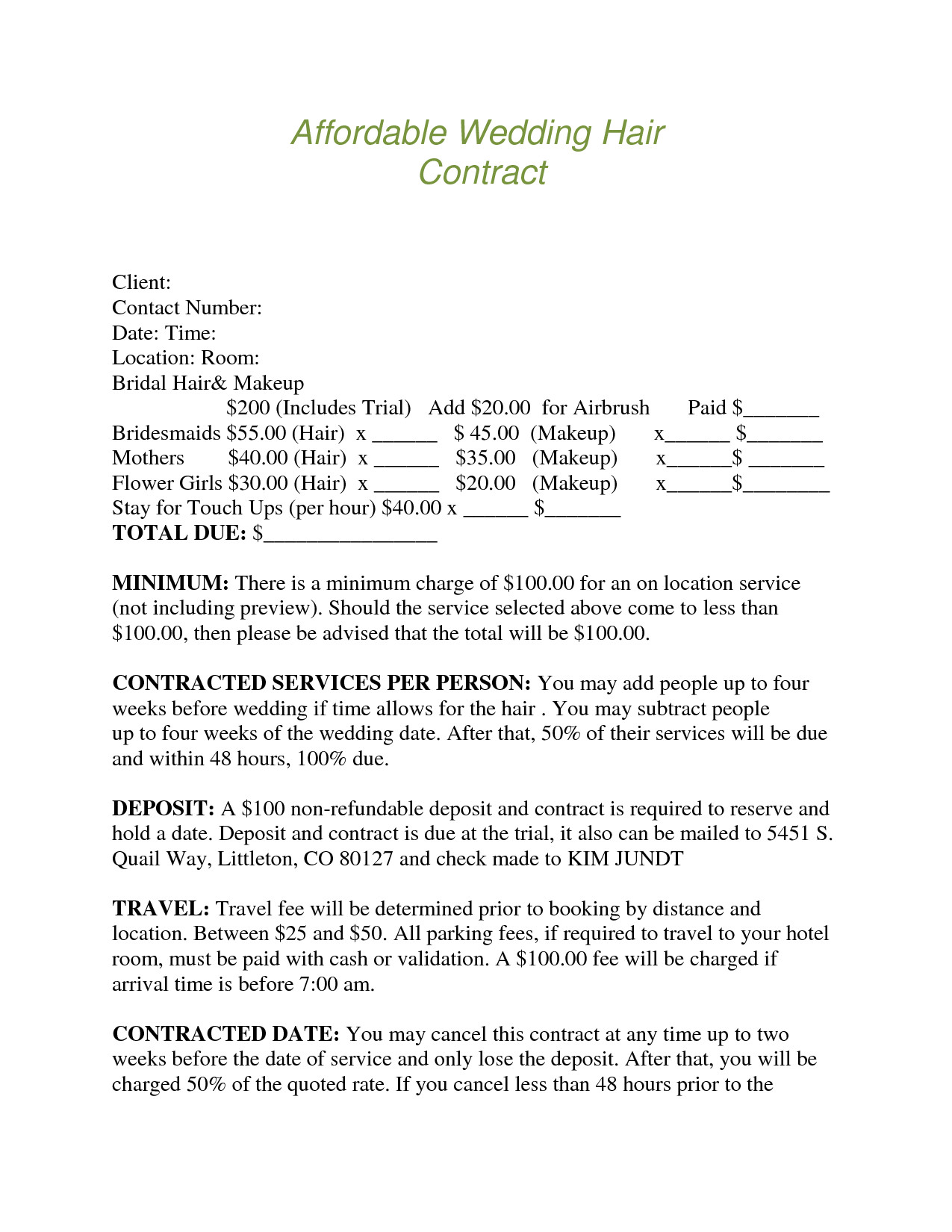 Bridal Contract Template for Hair Bridalhaircotract Affordable Wedding Hair Contract