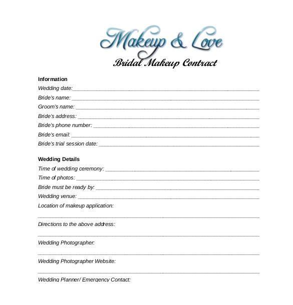 Bridal Hair and Makeup Contract Template 28 Wedding Contract Templates Example Word Google Docs