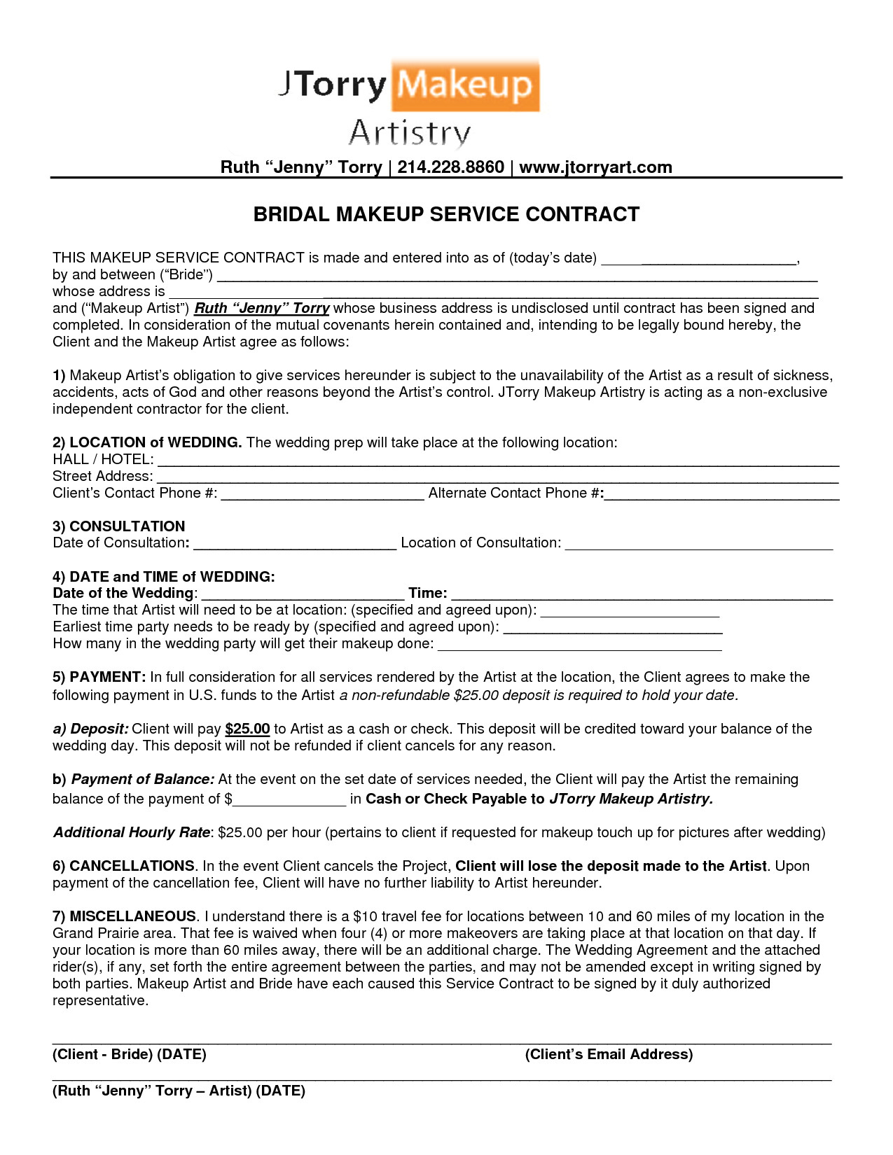 bridal makeup artist contract template