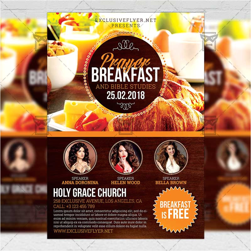 prayer breakfast church a5 flyer template