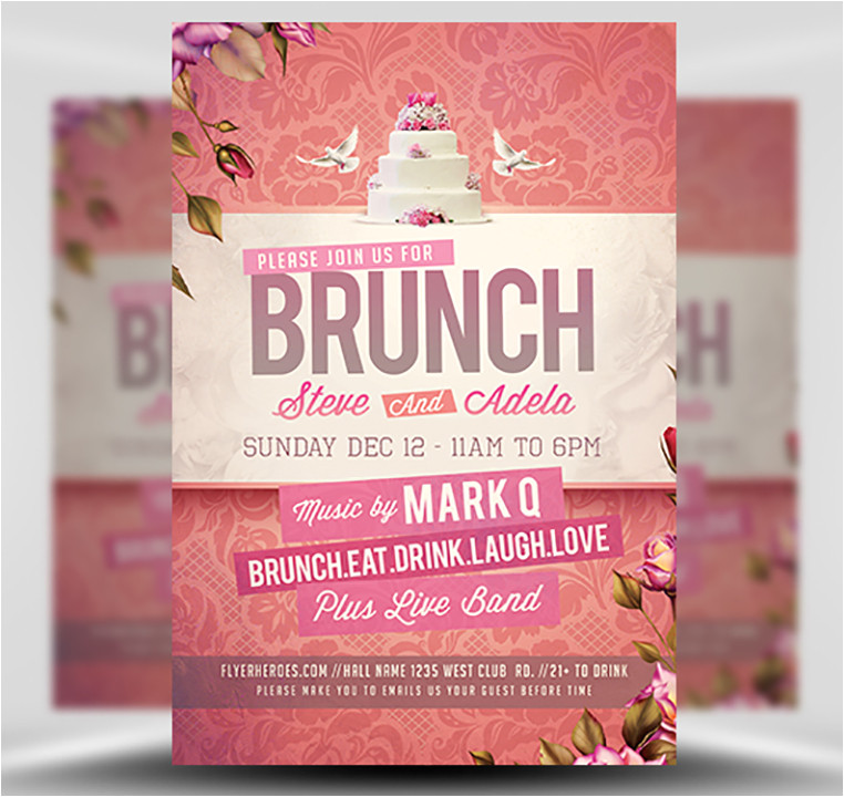 wedding brunch flyer template