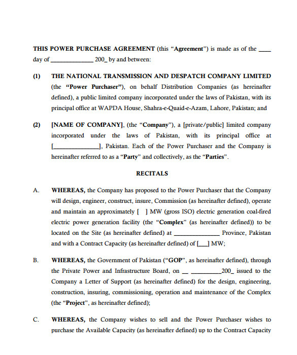 sample power purchase agreement