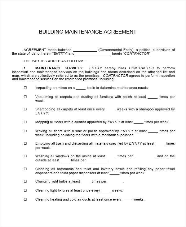 Building Maintenance Contract Template 17 Maintenance Contract Templates Pages Word Docs