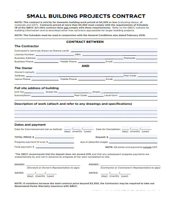 Building Work Contract Template 10 Work Contract Templates Apple Pages Google Docs