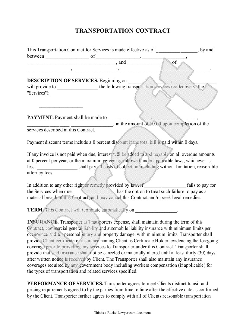 Bus Service Contract Template Transportation Contract Agreement form with Sample