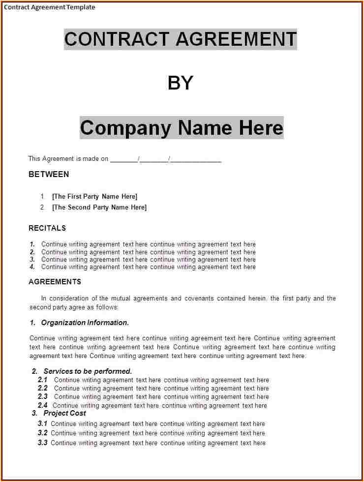 Business Contract Agreement Template Agreement Between Two Companies for Services Basic