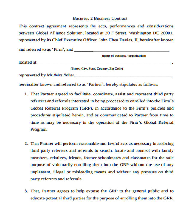 business agreement templates