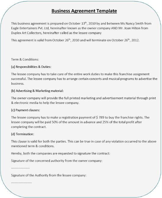 standard business agreement templates pdf doc