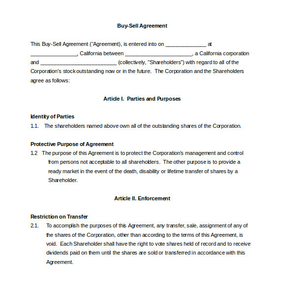 sample buy sell agreement