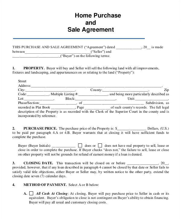 Buyer Seller Contract Template 8 Home Sales Contracts Samples Templates In Pdf Google
