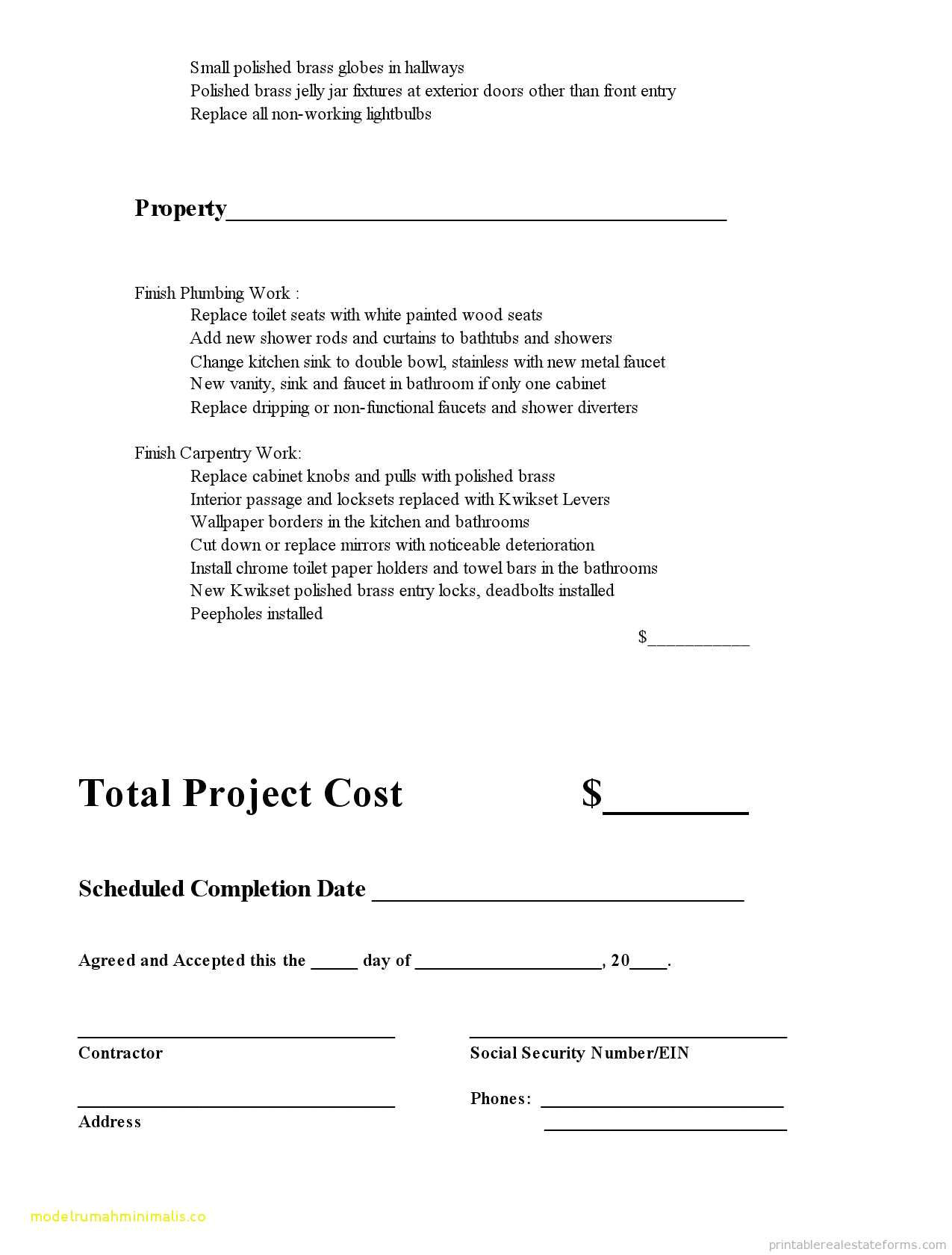 cabinet installation contract template