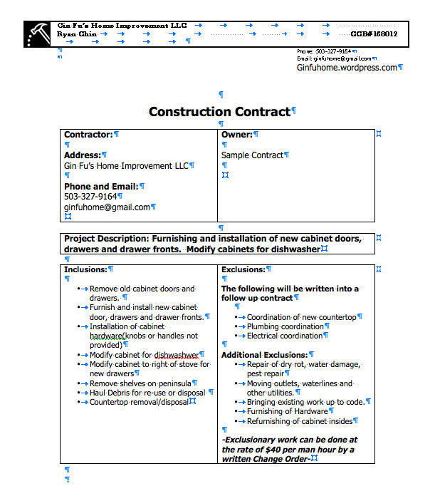 sample contract