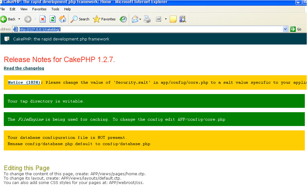 step 2 download cakephp and setup