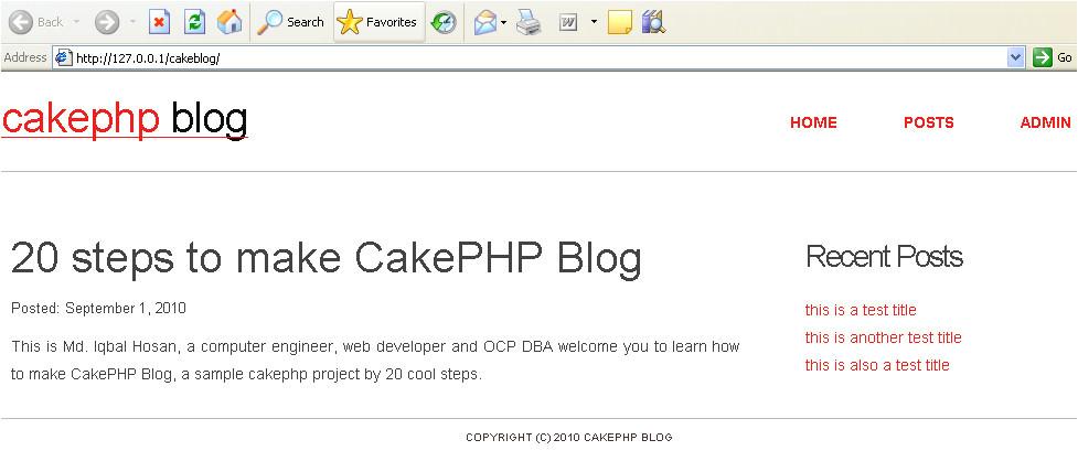 step 6 template setup for cakephp blog