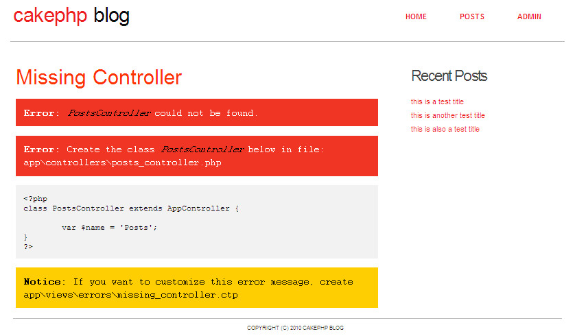 step 7 controller for posts cakephp