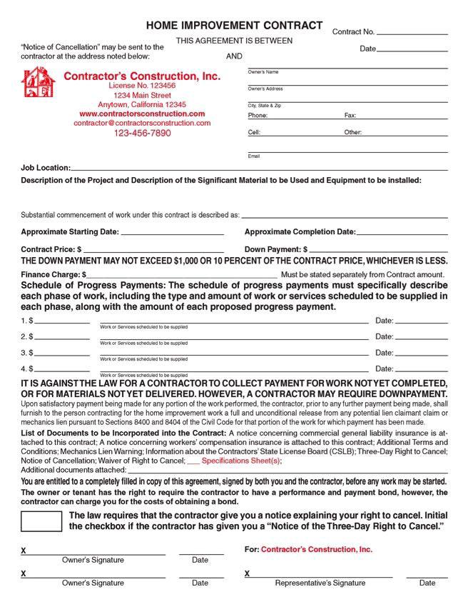 California Home Improvement Contract Template Custom Electronic California Home Improvement Contracts