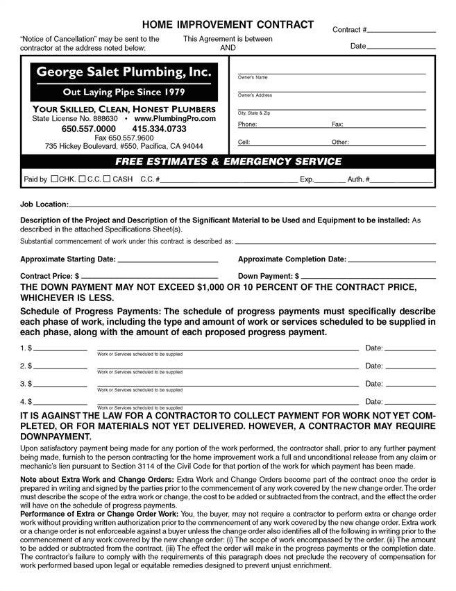 custom pdf home improvement contract