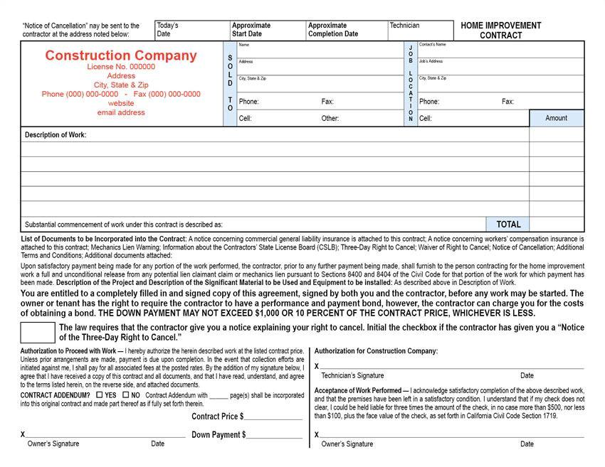 horz california home improvement contract