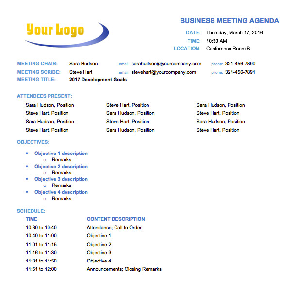 Call for Agenda Items Email Template 10 Free Meeting Agenda Templates for Microsoft Word