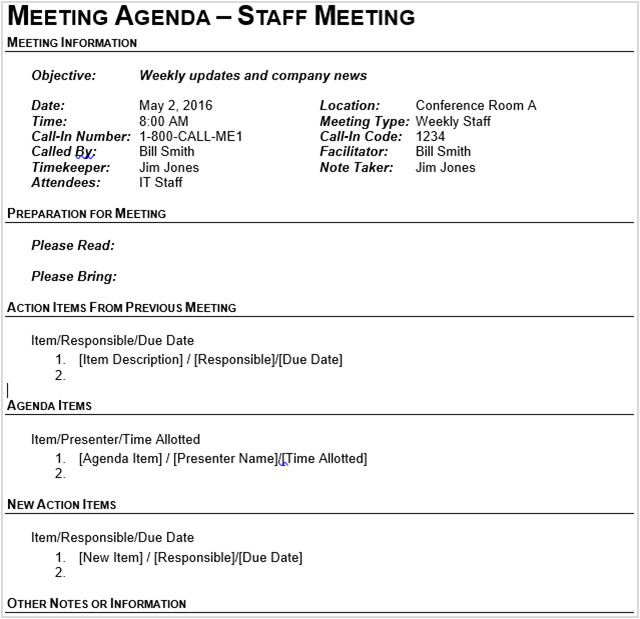 Call for Agenda Items Email Template 15 Best Meeting Agenda Templates for Word