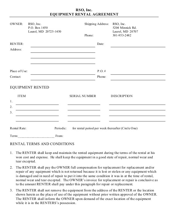 Camera Rental Contract Template 11 Equipment Rental Agreement Doc Pdf Free Premium