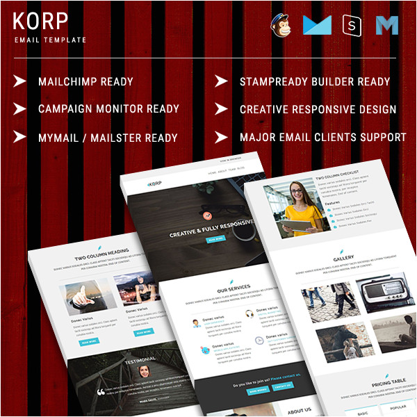 korp multipurpose responsive email template with stampready builder online access