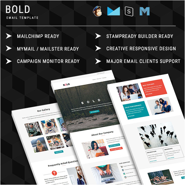 bold multipurpose responsive email template with online stampready builder access