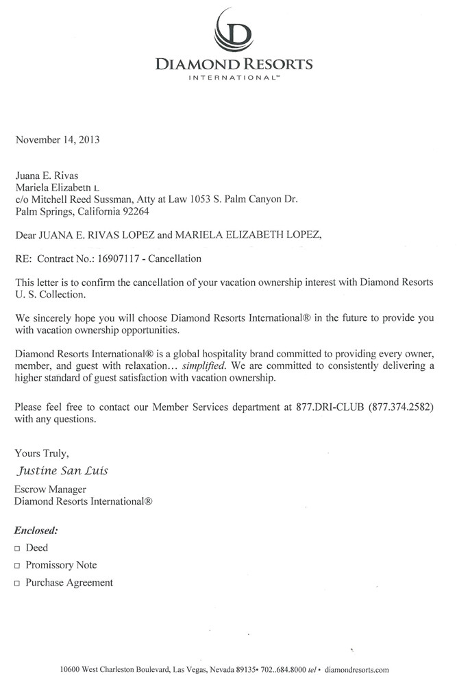Canceling A Timeshare Contract Letter Templates Diamond Resorts2 Timeshare Cancellation
