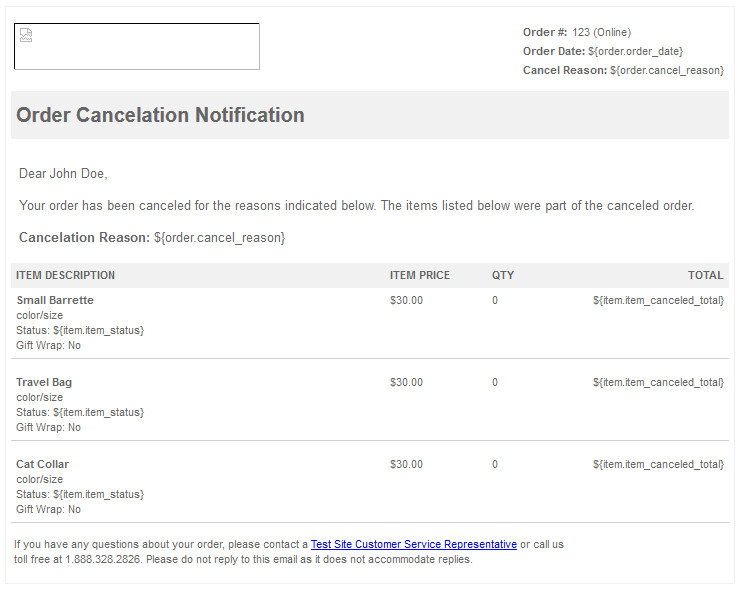 order cancellation email template