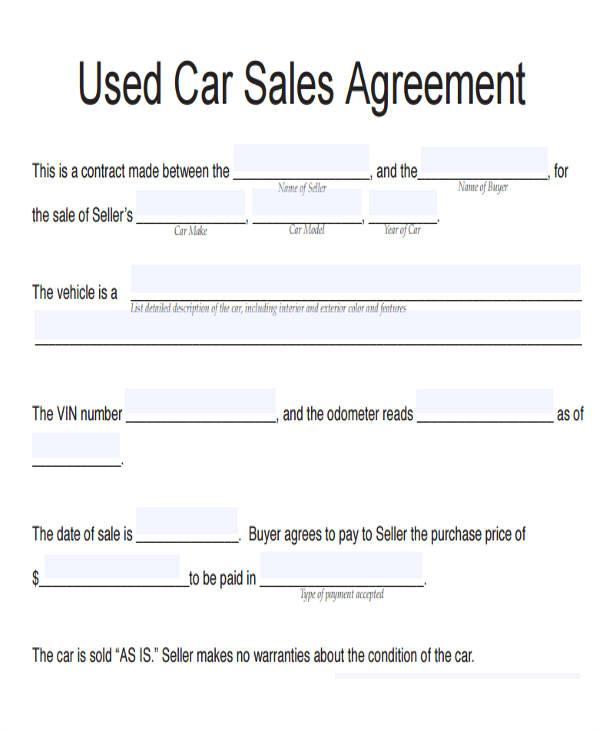 vehicle sales agreement sample