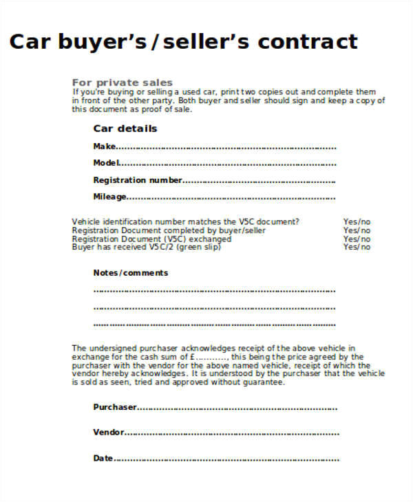 car sales contract