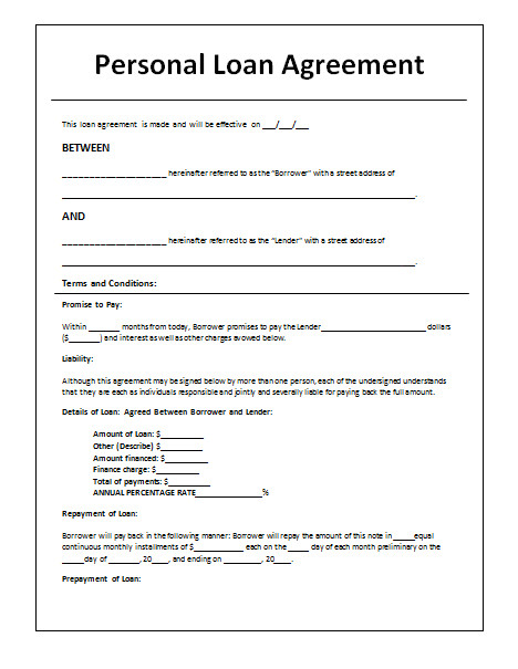 Cash Loan Contract Template 45 Loan Agreement Templates Samples Write Perfect