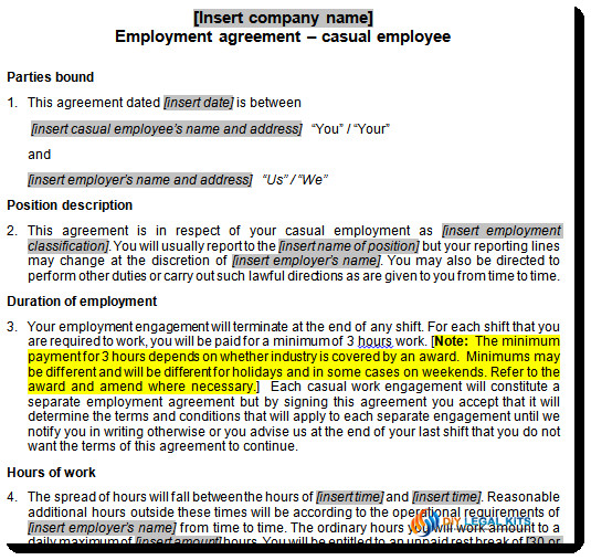 Casual Employee Contract Template Casual Employment Contract Template Australia