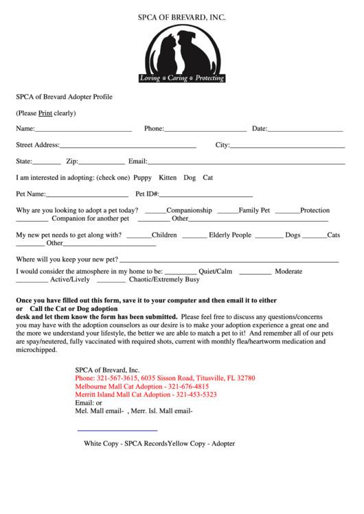 4566 pet adoption form
