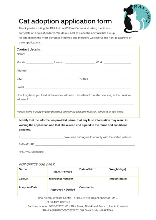 cat adoption application form