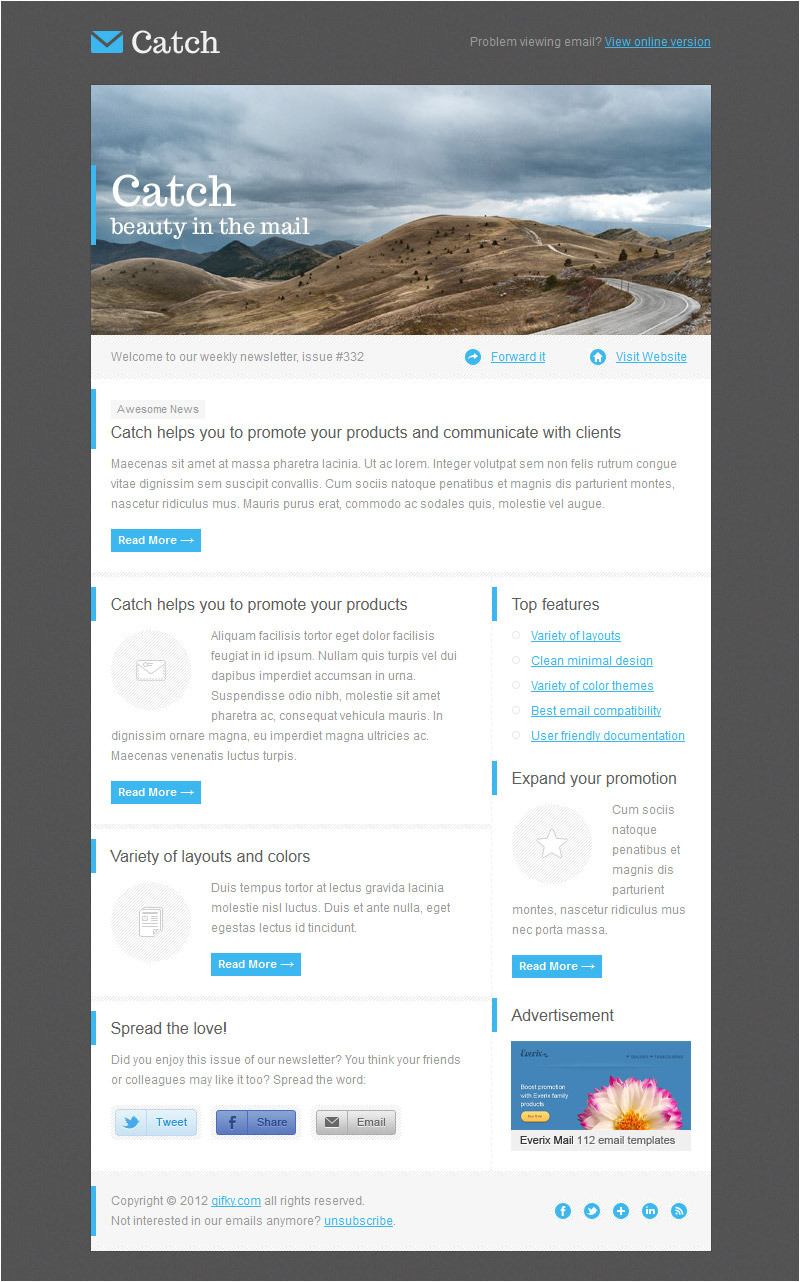 Catch Up Email Template Catch Email Template by Gifky themeforest