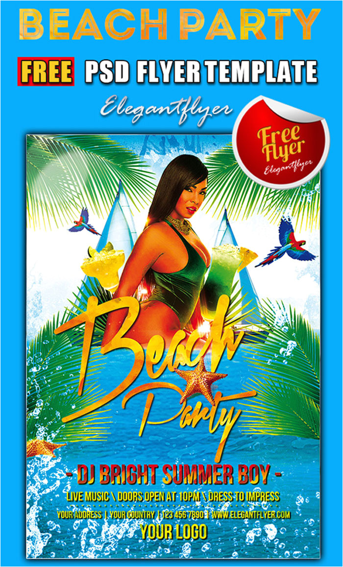 free beach party flyer psd templates