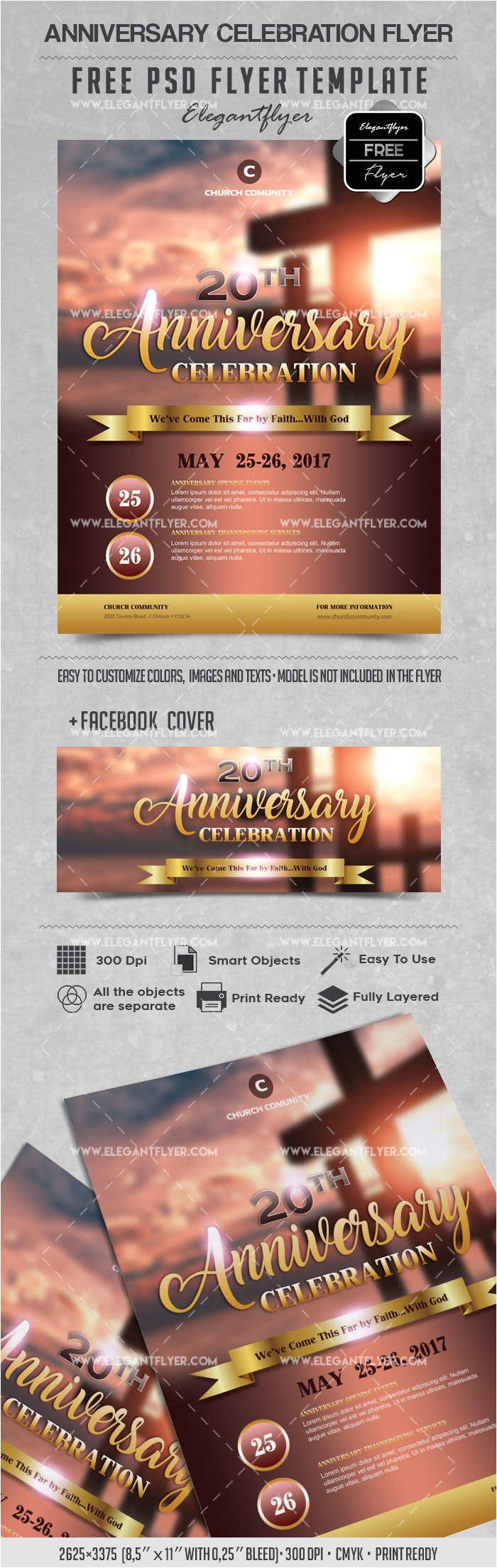 anniversary selebration flyer psd template facebook cover