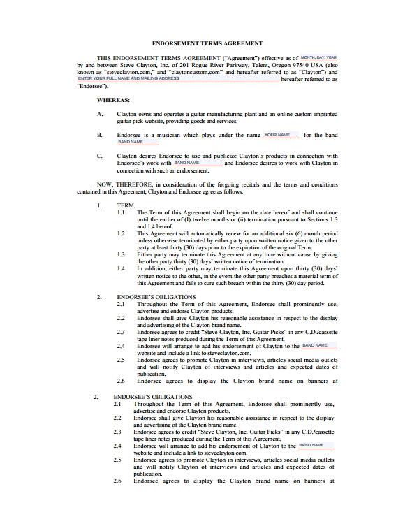 endorsement agreement templates pdf