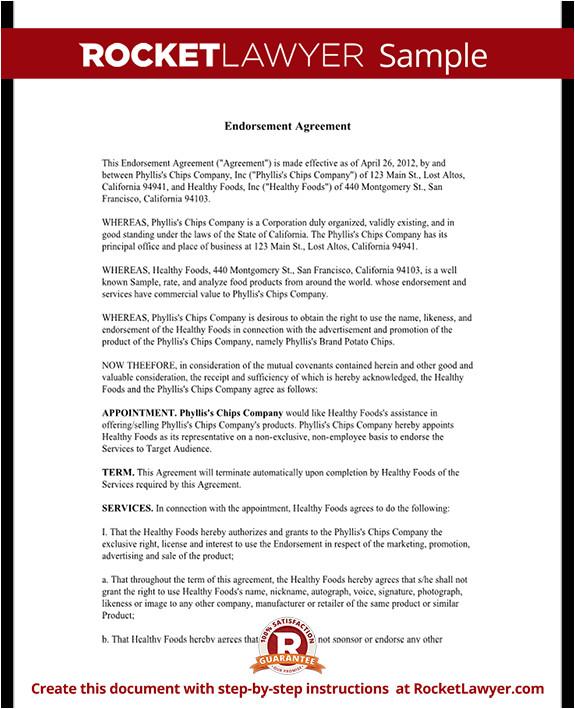 Celebrity Endorsement Contract Template Celebrity Endorsement Agreement Rocket Lawyer
