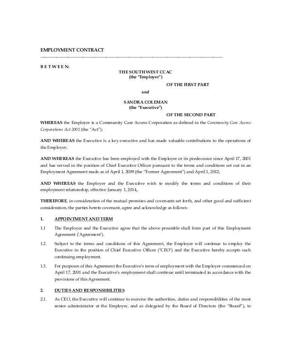 executive employment contract
